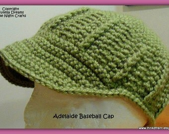 Baseball Cap Crochet Pattern - Adult & Child Size 2-5 Years -Instant Etsy Download PATTERN-Awesome Texture, Comfort and Fit