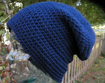 Navy Blue Wool Slouchy or Beanie Hat