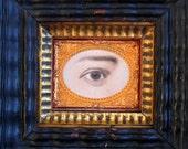 19th century lover's eye found object assemblage watercolor pastel portrait early american primitive folk art