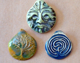 3 Handmade Ceramic Beads - Pinch top Celtic Beads - Primitive Pendant Beads  - Tree of Life, Labyrinth, and Greeman - Charms - Clay Pendants