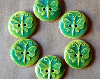 6 Handmade Ceramic Buttons - Butterfly Buttons in Spring Green - Stoneware buttons Folk Art Style Woodland Clay Buttons