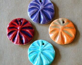 4 Handmade Ceramic Beads - Spring Flowers in Bright Colors