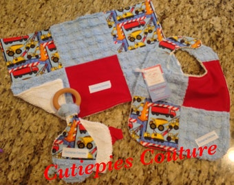 Cutiepies Couture Boys construction set with bib, burpie, and all natural teething ring lovie set