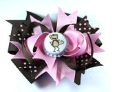 Boutique Bottle Cap Pink Brown Monkey Hair Bow Clip Hair Bow