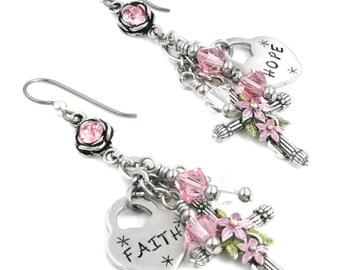 Cross Earrings, Religious Earrings, Dangle Earrings, Faith Earrings, Engraved Hearts, Rose Crystal Earrings, Hope Earrings