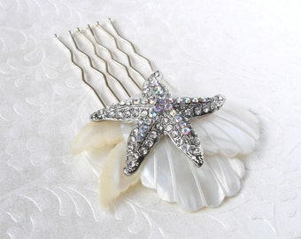Rhinestone Starfish Wedding Hair Comb Mother Of Pearl Bridal Hairpiece Bohemian Chic Beach Bride Shell Headpiece Aurora Borealis Accessory