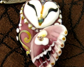 NEW Lampwork Owl Focal Bead by Kerribeads