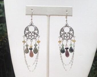 Rainbow Tourmaline Sterling Silver Dangle Earrings