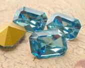 Christmas in July Sale - Vintage Swarovski 18x13mm Aquamarine Octagon Crystal Rhinestone Jewel (C1-1)