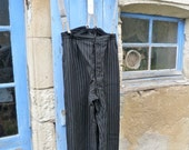 SUMMER SALES Vintage Antique 1930/1940 French striped chore worker trousers with assorted braces