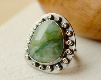 Emerald Ring, Sterling Silver Ring, Studded Ring,  Cocktail Ring, One of a Kind, Faceted Gemstone Ring, Statement Ring with Textured Surface