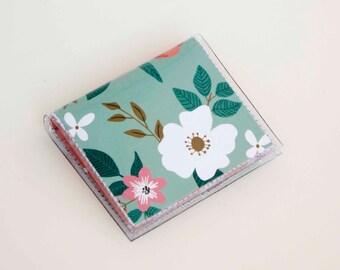 Handmade Vinyl Moo Square Card Holder - Botanical Blue / case, vinyl, snap, wallet, paper, mini card case, moo case, square, floral, blue