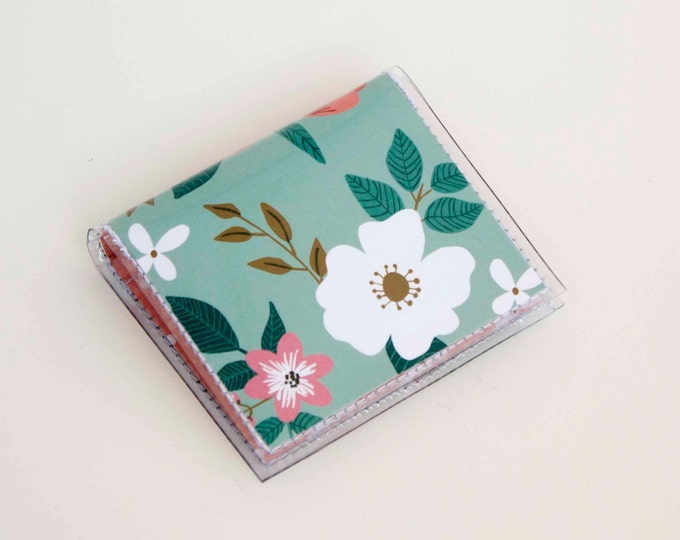 Handmade Vinyl Moo Square Card Holder - Botanical Blue / case, vinyl, snap, wallet, paper, mini card case, moo case, square, floral, blue