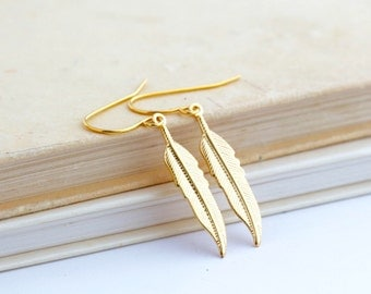 Gold Feather Earrings - Feather Jewelry - Brass Earrings - Boho Feather Earrings - Lightweight Earrings - Dangle Earrings