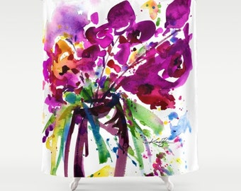 "Pink Flower Shower Curtain, Poppy Poppies Watercolor Painting of Original abstract floral art ""Floral Dance 2"" Kathy Morton Stanion  EBSQ"
