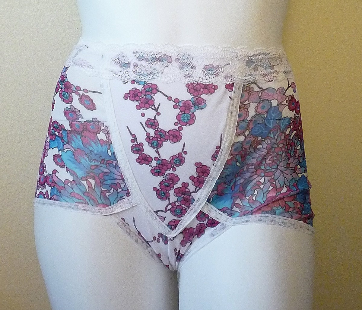Vintage Inspired Floral Girdle Panties Small Medium