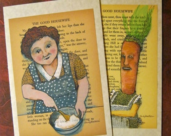 LARGE greeting cards, sandy mastroni, BIG cards, illustration on book, Carrot, Housewife,Happy Birthday, Get well, or Hello