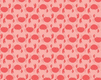 """NEW from Camelot Fabrics, """"Under the Sea"""" Collection, Crabs on Pink Chai, 1/2  yard"""