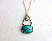 Turquoise and Pearl Pyramid One of a Kind Pendant
