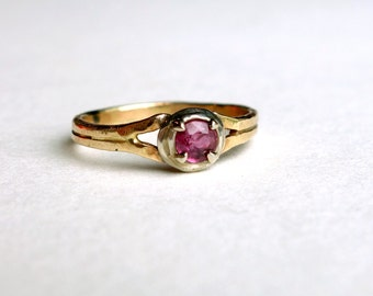 Mixed Metal Ruby Ring- Sterling Silver and 14k Gold