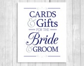 Printable Cards & Gifts for Bride and Groom 8x10 Navy Blue and White and Silver/Gray Card Box Wedding Sign - Instant Download