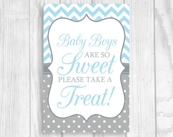SALE Baby Boys Are So Sweet Please Take A Treat 4x6 Printable Baby Shower Dessert Candy Table Sign in Light Blue Chevron and Gray Polka Dots