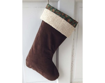 Brown Velvet Christmas Stocking - Pine Cone Tree Heirloom Holiday Decor