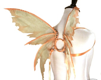 Odette No.14 - Small Fairy Wings in Sage and Peach - Strapless Convertable