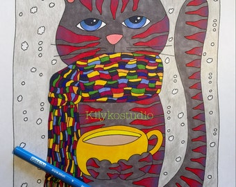 Snow Day Cat Coffee Time Adult Coloring Page Instant Digital Download Pdf