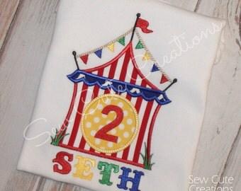 Circus birthday shirt, Circus Tent Shirt, Carnival Birthday Shirt, Circus shirt,Circus Tent Birthday, Boy, Girl shirt, Sew Cute Creations