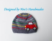 Knit Grey striped CAR  Hat, Custom create cars in diff. color, boys hats, boys accessories, boys Car beanie, baby accessories, Red car hat