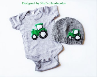 Knit Baby hat and baby Bodysuit Set with Tractor inspired applique, comes in many colors, Made in the USA,  Newborn photography, Baby shower