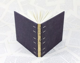 Medium Size Coptic Bound Gold and Dark Purple Linen Journal