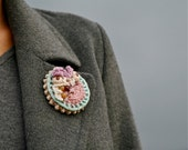 Crochet brooch in pretty pastels