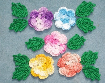 5 variegated cotton thread crochet applique roses with  leaves -- 2595