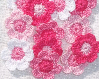 12 handmade pink and white crochet applique flowers -- 1858