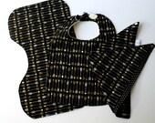 Gold Arrow Print Bib Burp Cloth Bibdana Set Baby Shower Gift Black