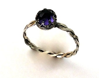Amethyst ring, sterling silver ring, Purple Gemstone Ring, engagement ring, delicate birthstone ring, stacking ring  - Deep purple R2066-1