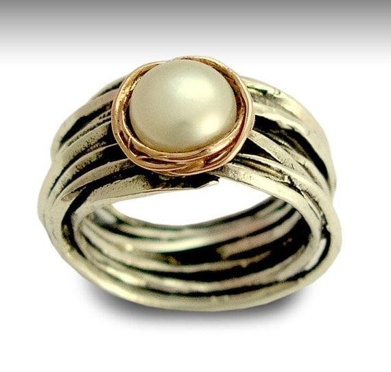 Engagement ring, Sterling silver ring, silver and rose gold ring, single pearl ring, June birthstone - Imagine life in peace R1504BG1