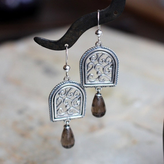 Sterling silver earrings, smokey quartz earrings, long earrings, chandelier earrings, dangle earrings, drop earrings, - Your illusion. E8000