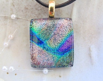 Dichroic Fused Glass Pendant, Fused Jewelry, Pink, Purple, Green, Necklace Included