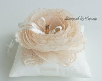 Wedding pillow with light beige flower and embroiderings---wedding rings pillow , wedding pillow