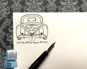 Custom Rubber Stamp,SQUARE, Vintage Car Stamp, Just Married Stamp,Save the date stamp, Wedding Stamp,  Personalized Stamp, #16-63
