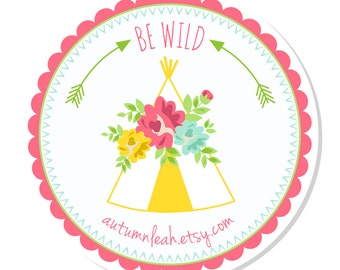 Personalized Stickers -- Floral Teepee  --  Thank You, Address Labels, Personalized Labels, Party Favor -- Choice of Size