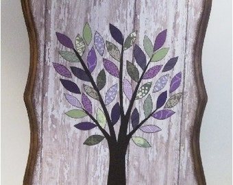 Key Hook, Wall Plaque, Jewelry Hook, Decoupaged Wooden Plaque, 8 x10, Baby Nursery, Gift, Purple, Green Tree, Organizer, READY TO SHIP