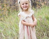 Victorian Cupcake Dress with Lace Cap Sleeve, Maya, Flower Girl, Little Girls Dress, Photo Op