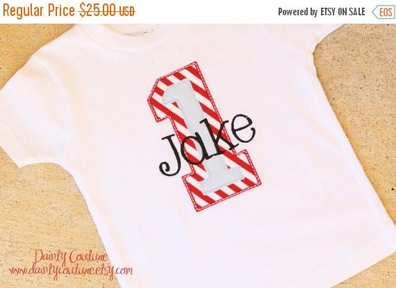 EASTER SALE - First Birthday Party Shirt - Red and white stripes with blue accents - Free personalization