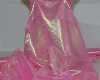 Sheer Pearlized Lame Fabric Flo Pink   ..44 inches...  sold by the yard...pageant dress, formal, crafts, Cinderella costume, theater