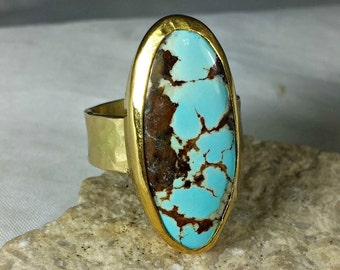 RESRVED FOR T Turquoise and Gold Ring, Solitaire Ring, 18 kt  Solid yellow gold ring,  Turquoise Jewelry, American Turquoise Ring