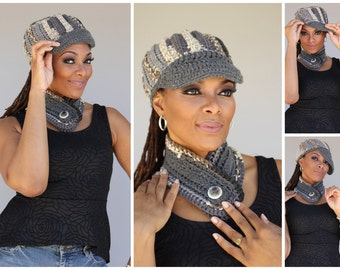 Grey and Brown Blend Cap / Hat and Infinity Neckwarmer Scarf